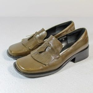 Etienne Aigner Green Leather Loafers Chunky Heel